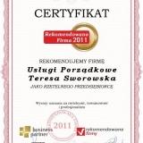 Teresa Sworowska - certyfikat rekomendowana firma