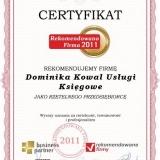Dominika Kowal - certyfikat rekomendowana firma