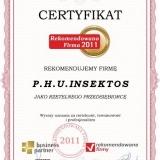 Insektos - certyfikat rekomendowana firma