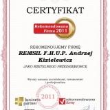 Remsil - certyfikat rekomendowana firma 2011
