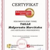 TAILLE - certyfikat rekomendowana firma 2011