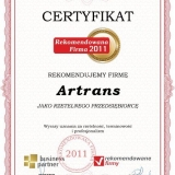 Artrans - Certyfikat rekomendowana firma 2011
