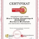 Bilansik - certyfikat rekomendowana firma 2011