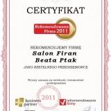 Salon Firan Beata Ptak - certyfikat rekomendowana firma 2011