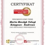 Marta Mendyk - certyfikat rekomendowana firma 2011