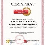 ARKO AUTOMATICS - certyfikat rekomendowana firma 2011