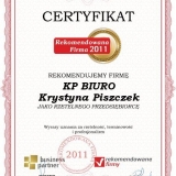 KP BIURO - certyfikat rekomendowana firma 2011