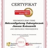 Netcom Systemy Zabezpieczeń - certyfikat rekomendowana firma 2011