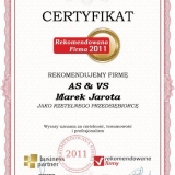 AS & VS - certyfikat rekomendowana firma 2011