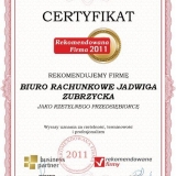 JADWIGA ZUBRZYCKA - certyfikat rekomendowana firma 2011
