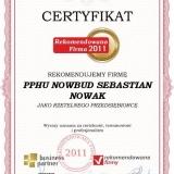 PPHU NOWBUD - certyfikat rekomendowana firma 2011