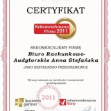 Anna Stefańska - certyfikat rekomendowana firma 2011