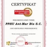 PPHU Ant-Mar Bis S.C. - certyfikat rekomendowana firma 2011