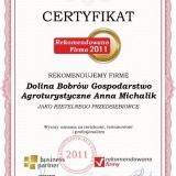 Dolina Bobrów - certyfikat rekomendowana firma 2011