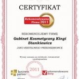 Gabinet Kosmetyczny Kingi Stankiewicz - certyfikat rekomendowana firma 2011