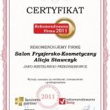 Salon Fryzjersko-Kosmetyczny - certyfikat rekomendowana firma 2011