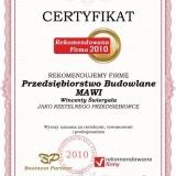 MAWI - certyfikat rekomendowana firma 2010