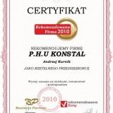 P.H.U KONSTAL - certyfikat rekomendowana Firma 2010