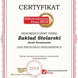 Zakład Stolarski Jacek Proszkowiec - certyfikat rekomendowana firma 2010