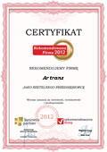 Artrans Arkadiusz Purymski, Certyfikat