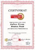 Salon Firan Beata Ptak, Certyfikat