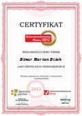 Bimar Marian Biżek, Certyfikat