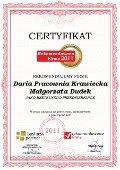 Daria Pracownia Krawiecka, Certyfikat
