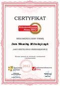 Dom Weselny Mikołajczyk, certyfikat - Rekomendowana Firma