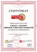 FIRANY I TKANINY DEKORACYJNE FILIP ADAMCZYK, Certyfikat