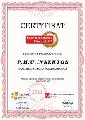 Przedsiębiorstwo Handlowo - Usługowe Insektos, Certyfikat