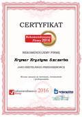 Krymar Krystyna Szczerba, Certyfikat