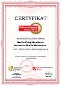 Monika Usługi Handlowe i Krawieckie Monika Makowska, Certyfikat
