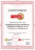 Przedsiębiorstwo handlowo-usługowe Profit sp. z o.o., Certyfikat