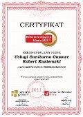 Usługi Sanitarno Gazowe Robert Kuziemski, Certyfikat