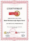 Hotel Restauracja Rywa Verci, Certyfikat