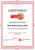 Sala Bankietowa GOLD, Certyfikat