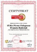 Ul-Ka Firma Usługowa Urszula Kaliciak, Certyfikat