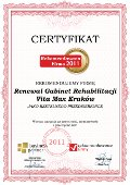 Gabinet Rehabilitacji Vita Max Kraków, Certyfikat