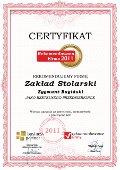 Zakład Stolarski Zygmunt Bagiński, Certyfikat
