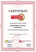 Zakład Stolarski Jacek Proszkowiec, Certyfikat