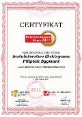 Instalatorstwo Elektryczne Filipiak Zygmunt, Certyfikat